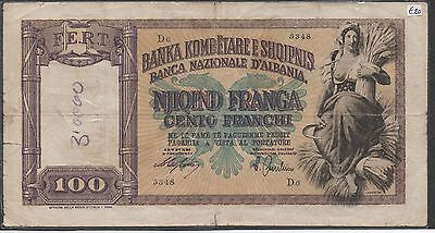 Albania / Italian Occupation , 100 Franga , ND. 1940 , P 8 , Series D 6