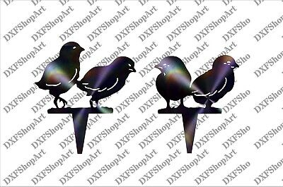 DXF CNC dxf for Plasma Router Clip Art Baby Chicks Garden Stakes Man Cave