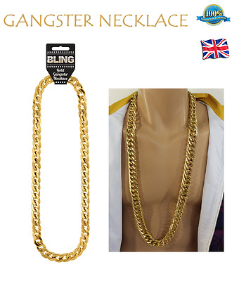 GOLD GANGSTER NECKLACE Fancy Dress Jewellery Bling Gold Chain Chunky Gold