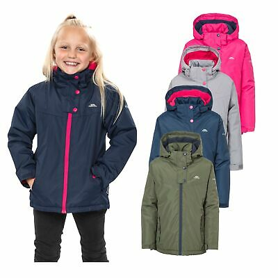 Trespass Maybole Girls Waterproof Jacket Windproof Hooded Rain Coat for School