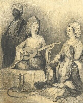 J. Norrington, Harem Scene, Constantinople - 19th-century graphite drawing