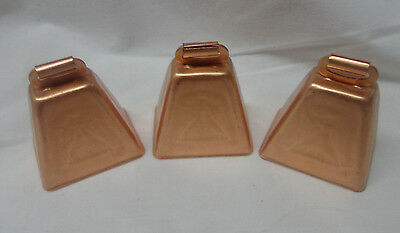 "Bright Copper-Coated Cow Bell 2"" Lot of 3"