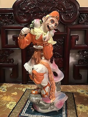 Chinese Vintage Monkey King Carrying Peach Longevity Figurines Porcelain  19""
