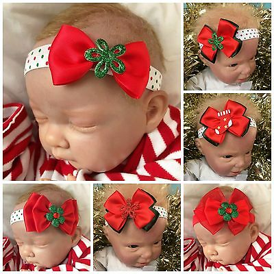 Baby Girl's Christmas Headband Red Green Glitter Flower Stocking