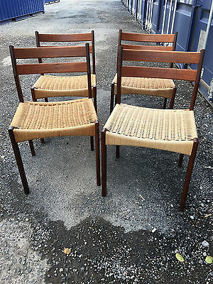 4 x mid century teak and papercord Danish Moller style dining chairs 1960s 70s