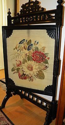 Antique Victorian Fire Screen~Fretwork, Rotating, Footed, Carved Birds