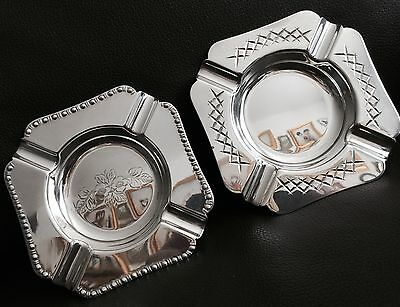 2 Superb Antique English Edwardian Silver Plated Ashtrays In Perfect Condition