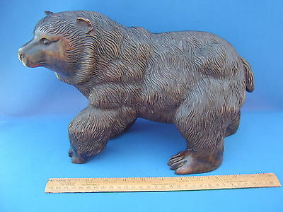 "Antique Black Forest Bear Large & Heavy carved wooden figure 13.75"" long c1900's"