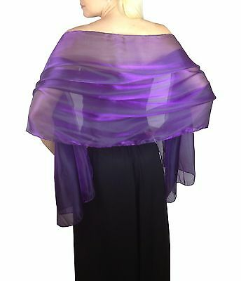 Cadburys Purple Silky Bridal Bridesmaid Wedding Prom Shawl Stole Wrap Pashmina