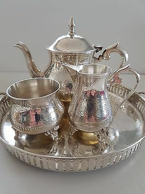 SMART POSSIBLE SILVER Plated ~ Engraved TEA SET  With Tray No Hallmarks