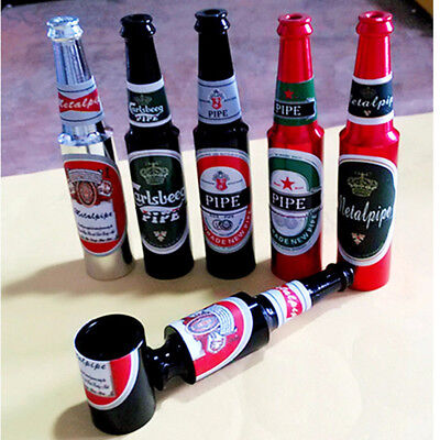 """1X Quality Colored Miniature Real Beer Bottle Tobacco Smoking Pipe """"Novelty"""" L"""