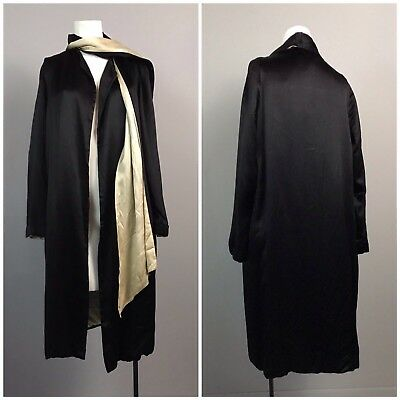 Vintage 1920s 1930s Black Silk Robe Dressing Gown with Ivory Scarf Art Deco S