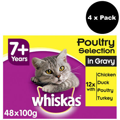 Whiskas 7+ Senior Cat Pouches Poultry Selection in Gravy 48 x 100g Cat Food