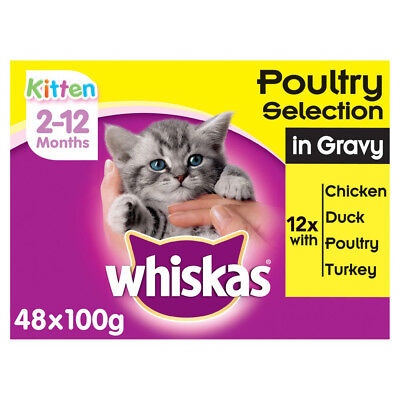 Whiskas 2-12 Months Kitten Food Pouches Poultry Selection in Gravy 48 x 100g