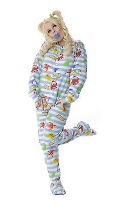 Unisex Soft Blue Striped Dinosaurs White Adult-Size Footed Snap Closure Pajamas