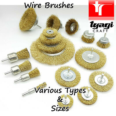 """Wire Brush Disc Cup Wheel Long Steel Brass Bench Grinder Drill 6"""" 4"""" inch Rust"""