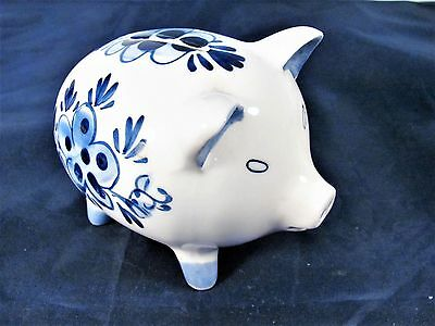 Vintage Hand Painted Delfts Blue Piggy Bank
