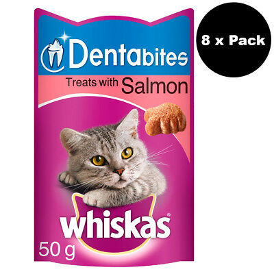 Whiskas Dentabites Cat Treats with Salmon 8 x 50g (400g Total) Cat Biscuits