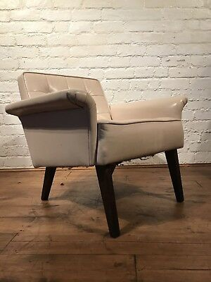 Vtg Mid century Danish Armchair Cocktail Chair Retro Scandinavian Retro Leather