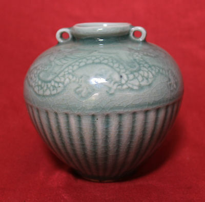Old and Antique Chinese 19thC Celadon 'Ribs and Incised Dragons' Big Jarlet