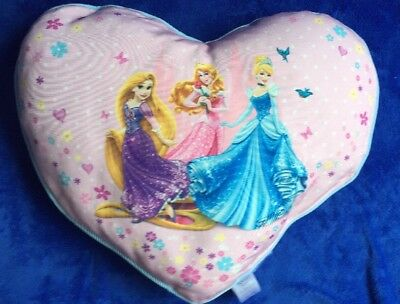Disney Princess Heart Shaped Cushion Pillow Cinderella Rapunzel Aurora Girls