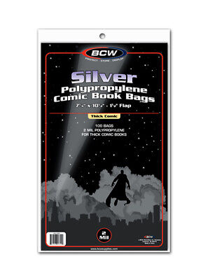 BCW Silver Age Thick Comic Book Bags / Sleeves Pack of 100