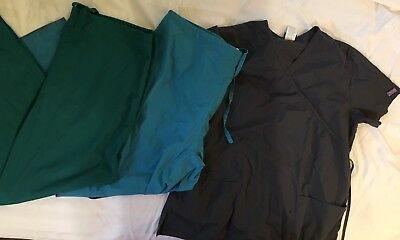 Lot Of 3: All Heart Cherokee Scrubs Pants Shirt Green Gray Medical Size Large