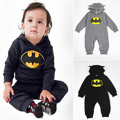 Newborn Boy Clothes Baby Batman Hoodies Romper Bodysuit Jumpsuit  Babygrow Black
