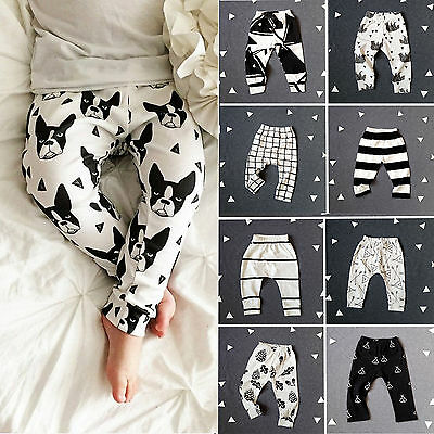 Newborn Baby Boy Girl Printed Harem Pants Plaid Trousers Leggings Bottoms 0-3Y
