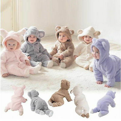 Newborn Romper Boy Girl Baby Grow Bodysuit Fleece Soft Clothes Hooded Jumpsuit
