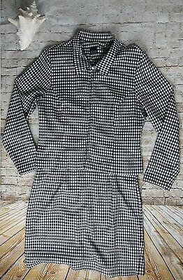 JD Stone 2 PC Suit Sheath Shift Dress Blazer Jacket Gingham Plaid Modcloth Retro