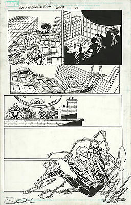 Original Comic Art Marvel Comics Marvel Adventures Spider-Man Page 20 Swinging!