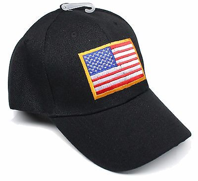b254094ccf953 Adult Patriotic US Flag Red White Blue One Size Adjustable Black Hat Cap