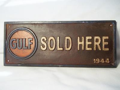 Cast Iron Gulf Sold Here Sign Plaque Dated 1944 Collectible Gas Oil Station Sign