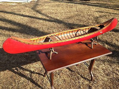 5' Salesman Sample Red Canoe Antique Kennebec Old Town Wood Canvas Traditional