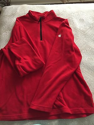 """Apple Computer Store Employee Mac Polyester Fleece Jacket, """"M"""" Bright Red"""