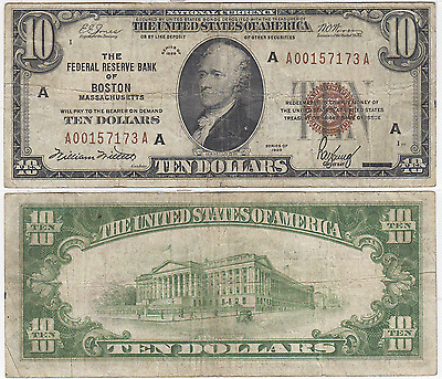 1929 $10 Federal Reserve Bank Note Boston District Fine FR 1860-A