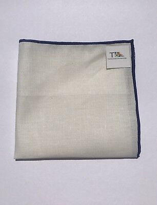 NEW-100% White Linen Pocket Square with Royal Blue Trim