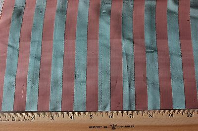 Antique c1890 French Silk Blue & Sienna Small Scale Stripe Sample Fabric~Dolls