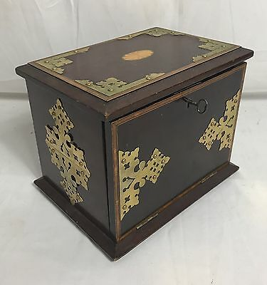 Antique Inlaid Wood Brass Accent Inkwell Locking Travel Desk