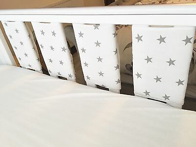 Handmade Cot Bar Bumpers Unisex White With Grey Stars (set Of 8) ⭐️