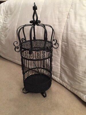 "Very Large Vintage Ornate Iron Bird Cage   2' 6"" Tall"