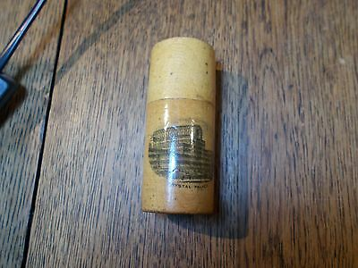 Antique Mauchline Cylindrical Needle Case Reel Holder Pot Crystal Palace