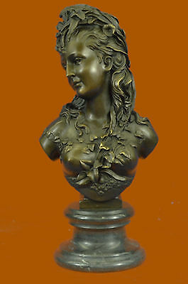Amazing Art Nouveau Bronze Bust Female Flower Girl Woman Signed B. Carrier Sale