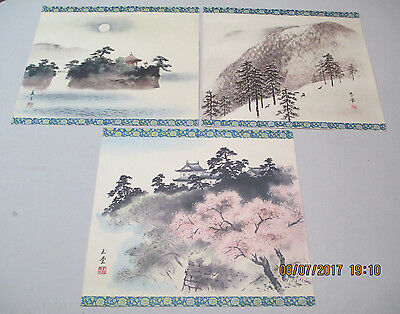 """3 Vintage Japanese Chinese Prints Watercolors Floral Boarder Signed 14 x 12"""""""
