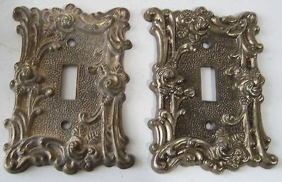 Two(2) Vintage 1967 American Tack & Hdwe Roses Flower Brass Single Switch Covers