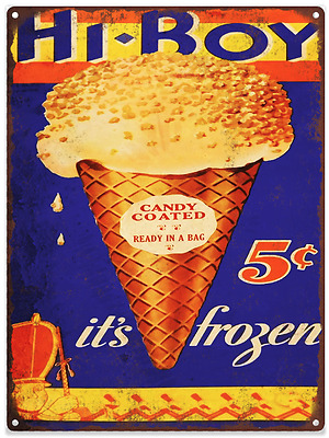 1932 Hi Boy Ice Cream Cone Ad Baked Metal Repro Sign 9 x 12 60127
