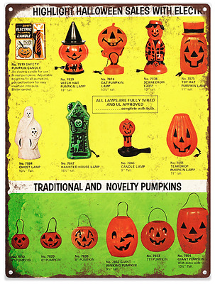 Vintage Halloween Blow Mold Advertising Ad Baked Metal Repro Sign 9 x 12 60130