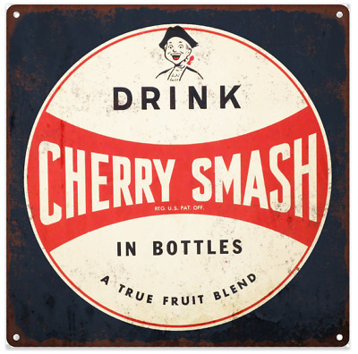 Cherry Smash Advertising Ad Baked Metal Repro Sign 12 x 12 60218