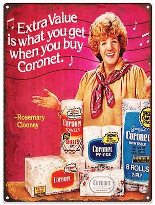 1960s Coronet Rosemary Clooney Advertising Ad Baked Metal Repro Sign 9x12 60137